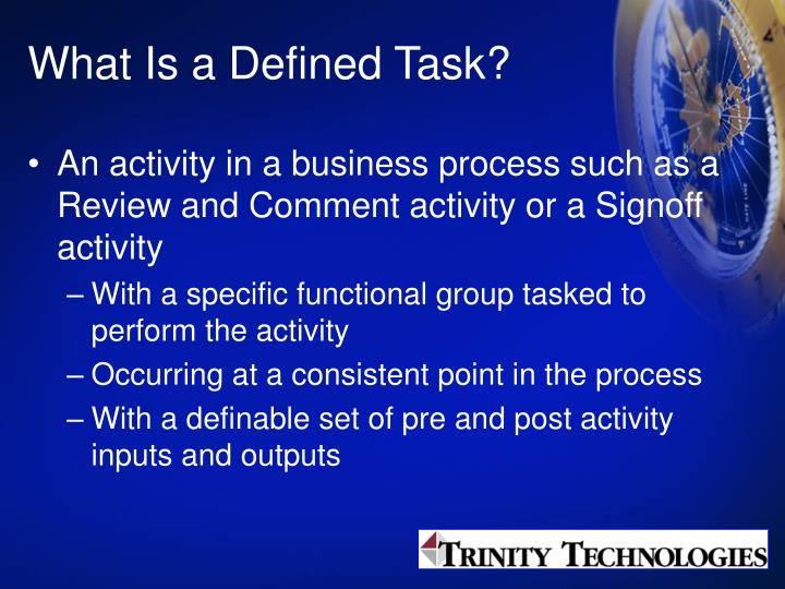 What Is a Defined Task?