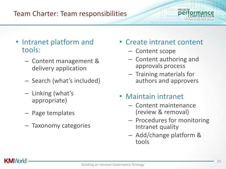 Team Charter: Team responsibilities