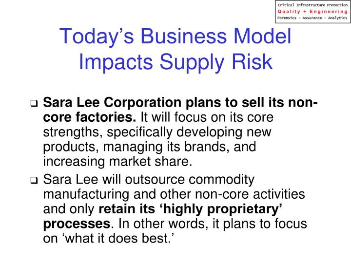 Today's Business Model Impacts Supply Risk