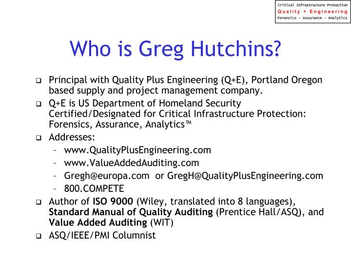 Who is greg hutchins