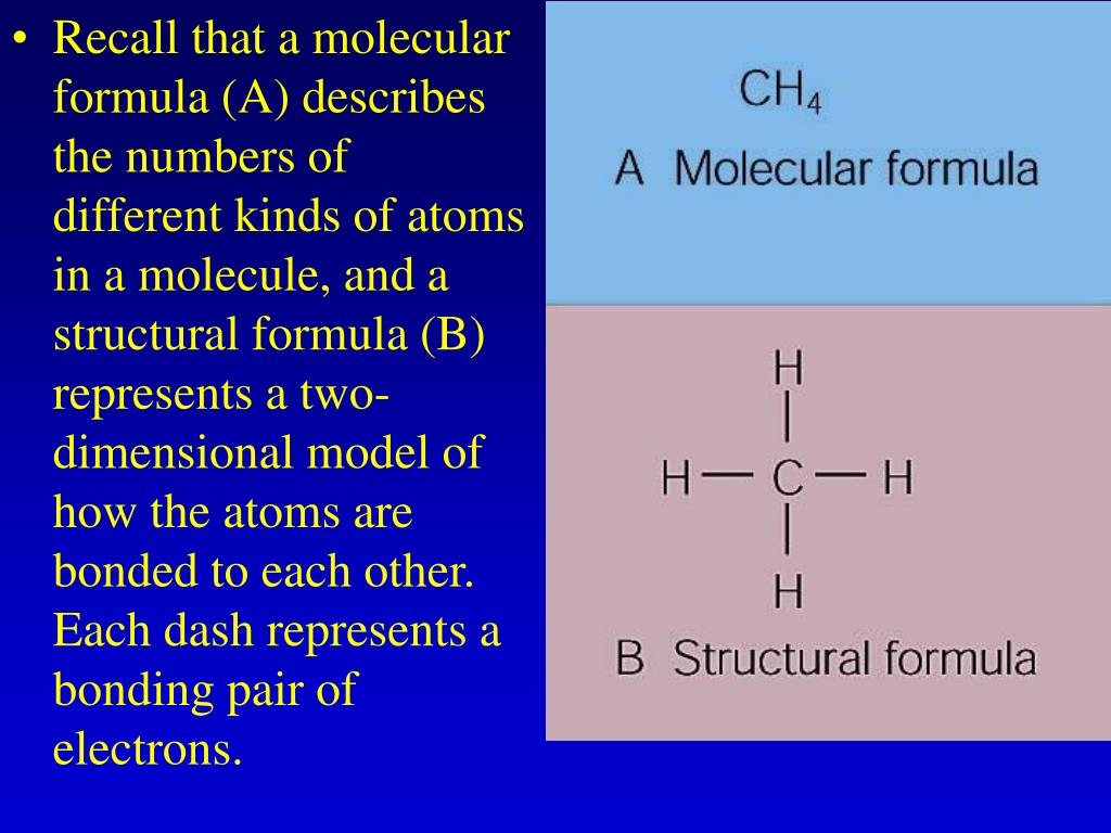 Recall that a molecular formula (A) describes the numbers of different kinds of atoms in a molecule, and a structural formula (B) represents a two-dimensional model of how the atoms are bonded to each other. Each dash represents a bonding pair of electrons.