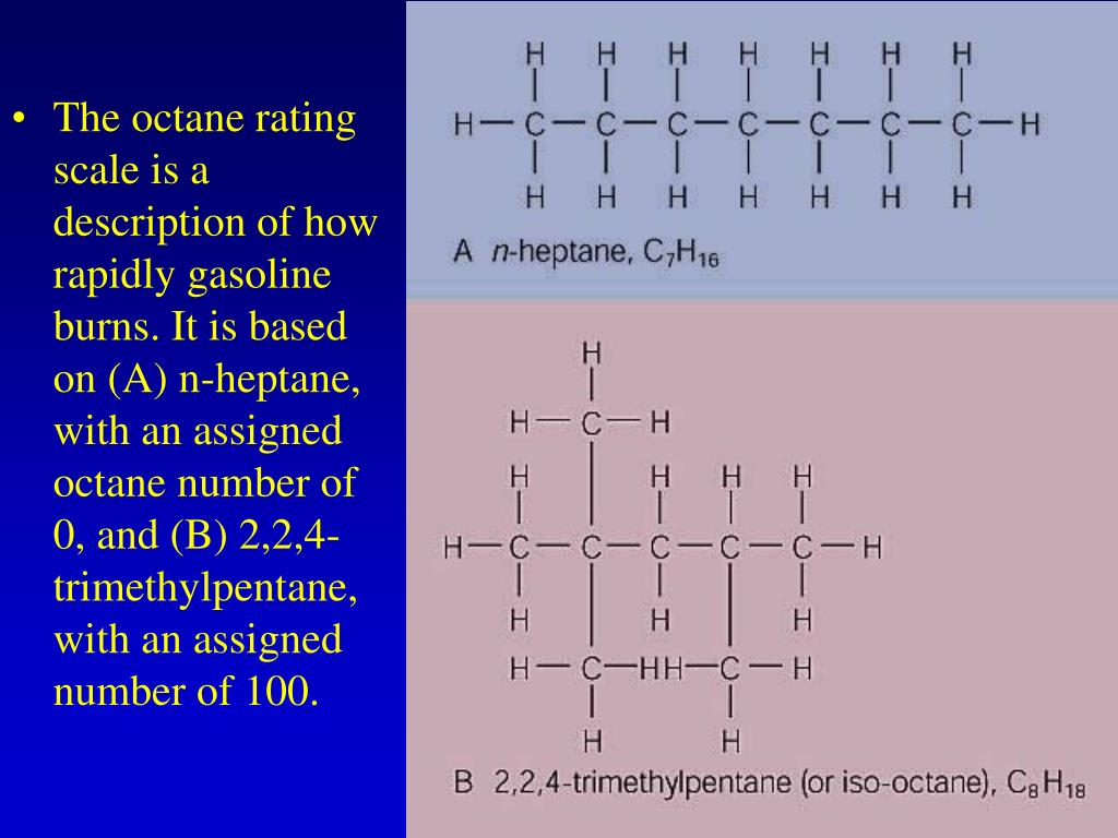 The octane rating scale is a description of how rapidly gasoline burns. It is based on (A) n-heptane, with an assigned octane number of 0, and (B) 2,2,4-trimethylpentane, with an assigned number of 100.