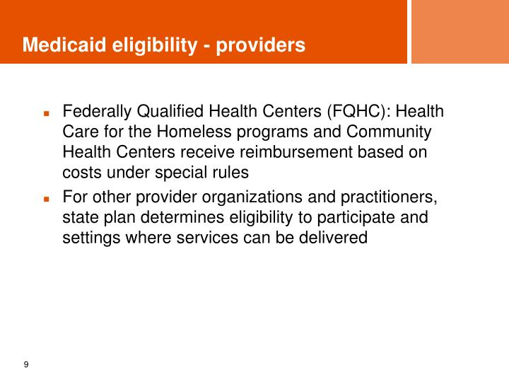 Medicaid eligibility - providers