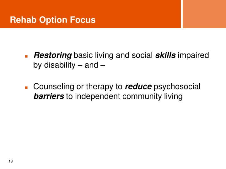 Rehab Option Focus