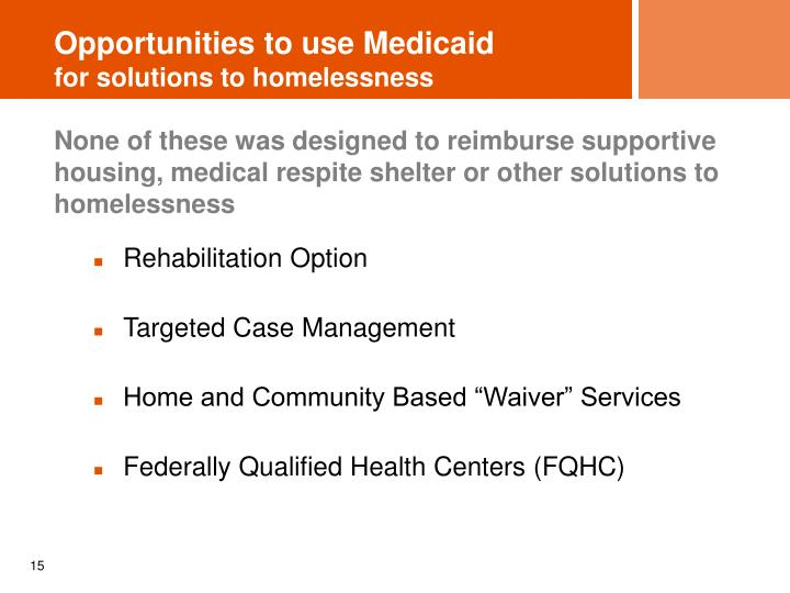 Opportunities to use Medicaid