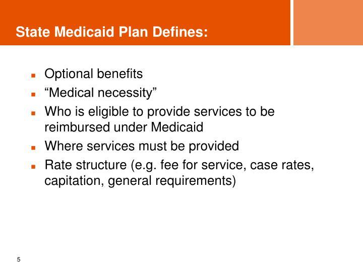 State Medicaid Plan Defines: