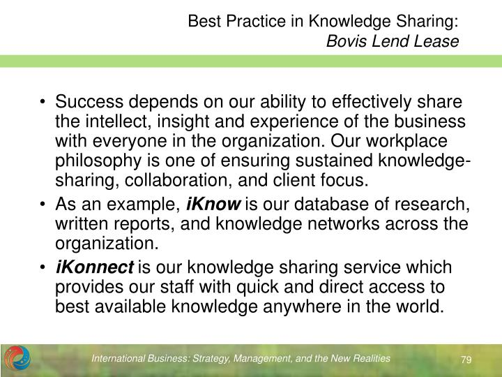 Best Practice in Knowledge Sharing: