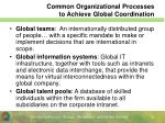 common organizational processes to achieve global coordination