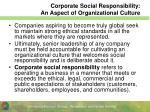 corporate social responsibility an aspect of organizational culture