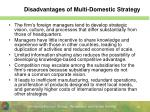disadvantages of multi domestic strategy