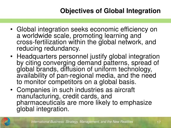Objectives of Global Integration