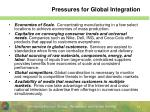pressures for global integration