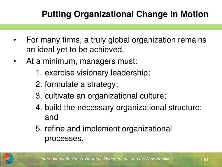 Putting Organizational Change In Motion