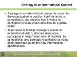 strategy in an international context