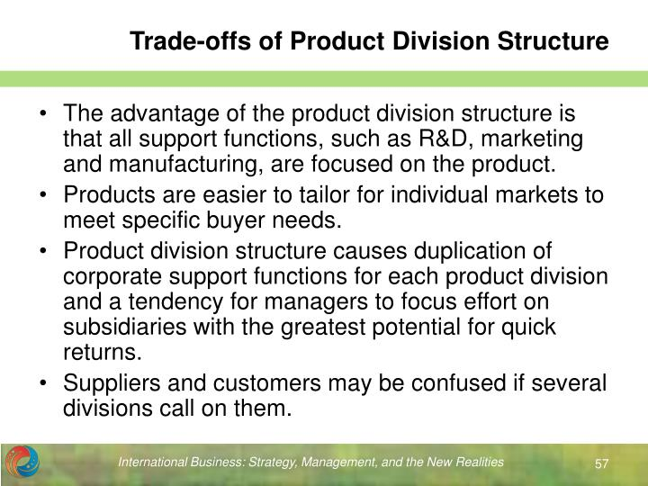 Trade-offs of Product Division Structure