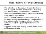 trade offs of product division structure