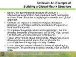 unilever an example of building a global matrix structure