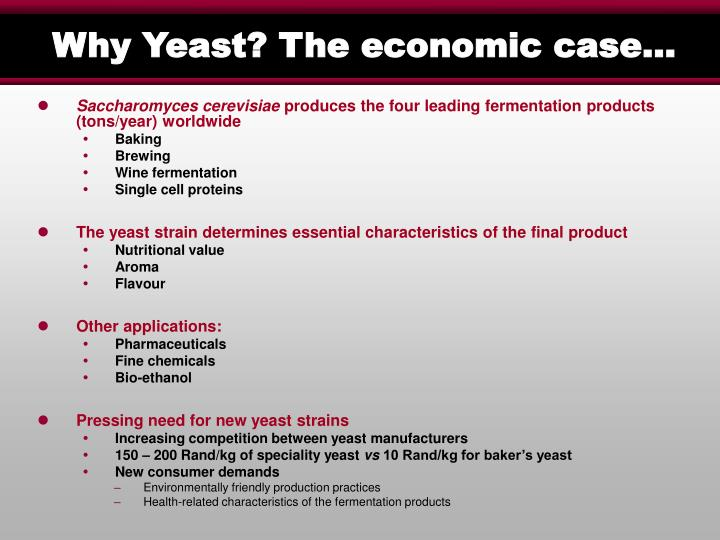 Why Yeast? The economic case…