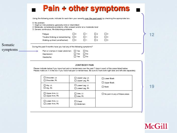 Pain + other symptoms
