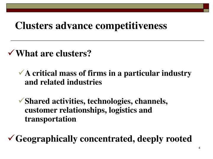 Clusters advance competitiveness