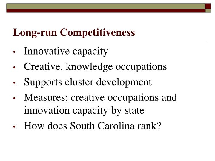 Long-run Competitiveness