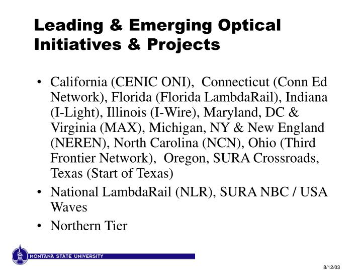 Leading & Emerging Optical Initiatives & Projects