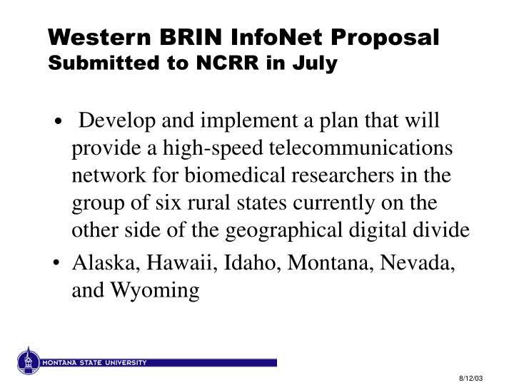 Western BRIN InfoNet Proposal