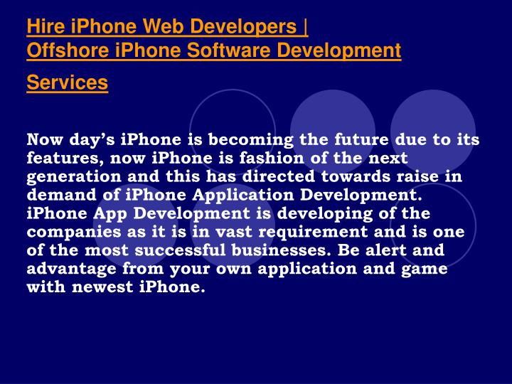 Hire iphone web developers offshore iphone software development services