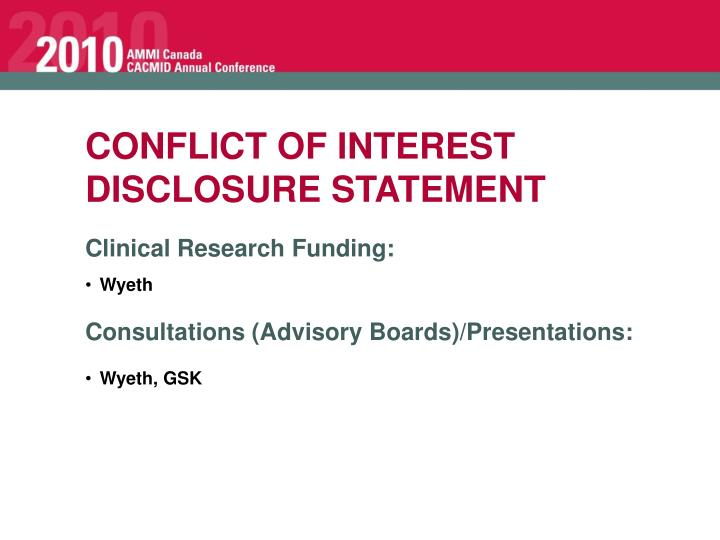 CONFLICT OF INTEREST DISCLOSURE STATEMENT