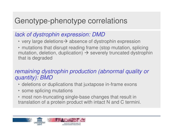 Genotype-phenotype correlations