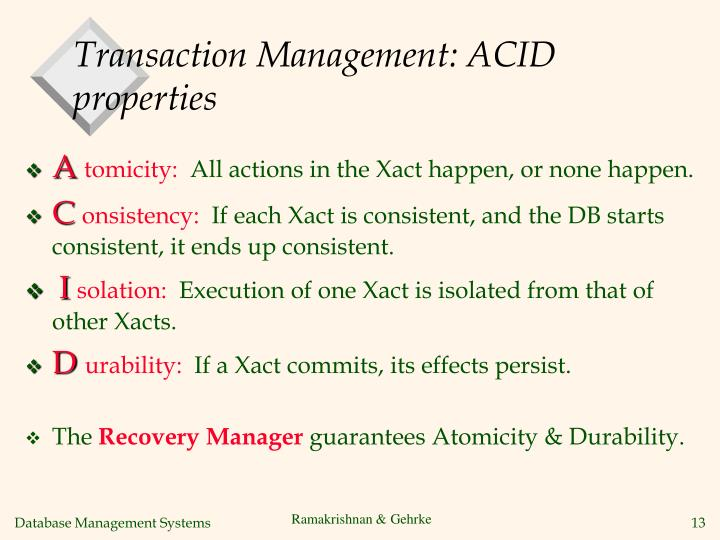 Transaction Management: ACID properties