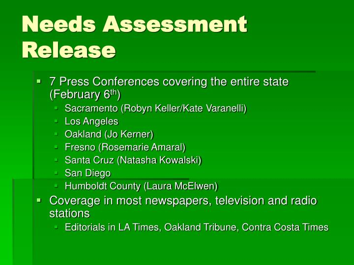 Needs Assessment Release