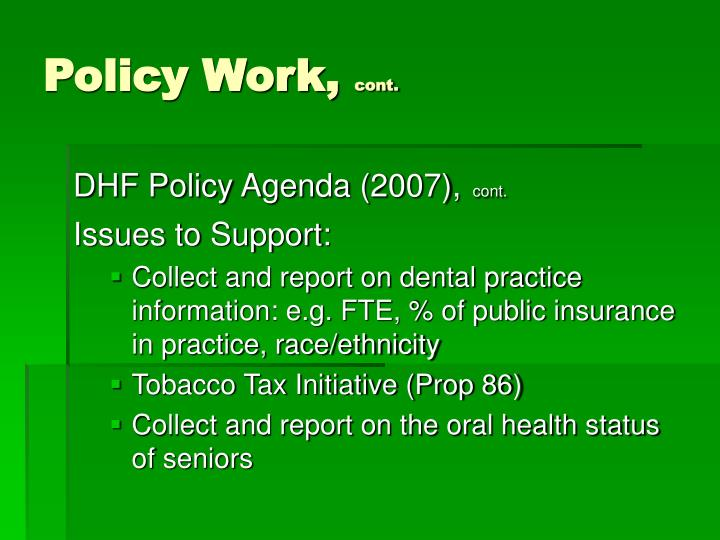 Policy Work,