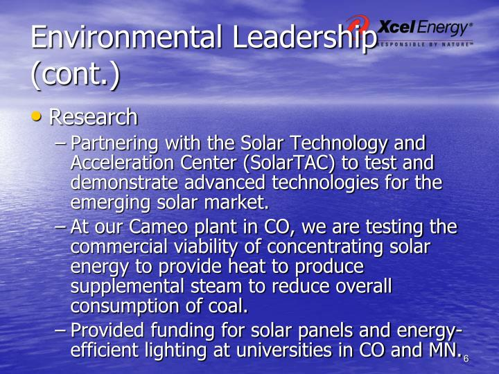 Environmental Leadership (cont.)
