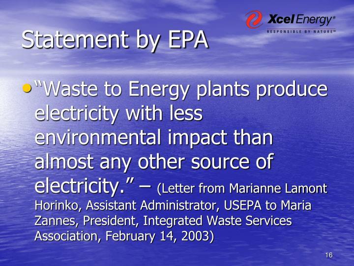 Statement by EPA
