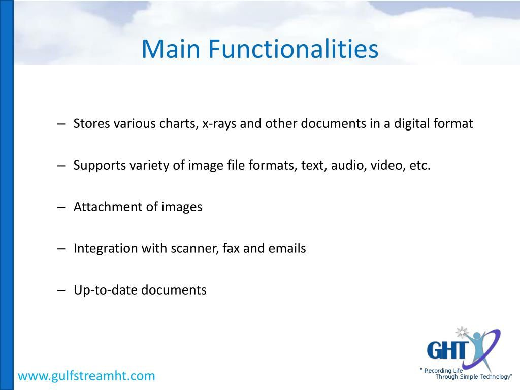 Main Functionalities