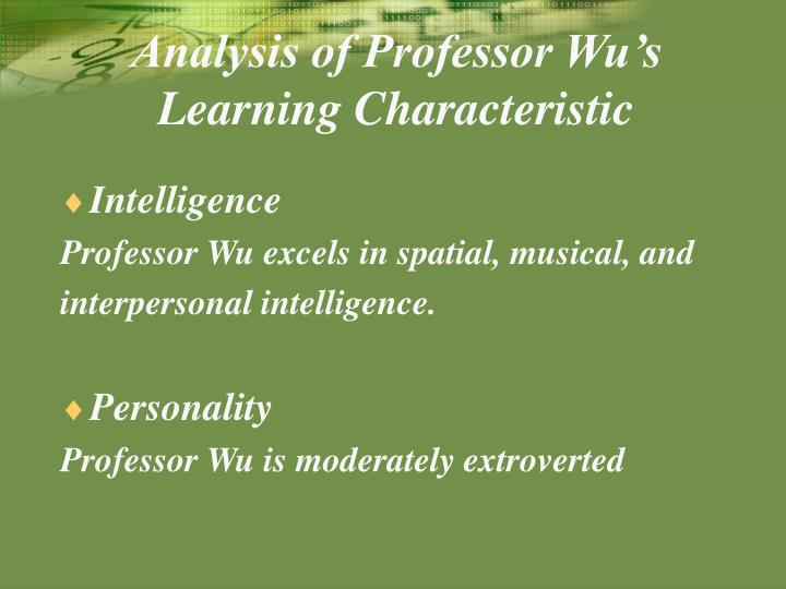 Analysis of Professor Wu's