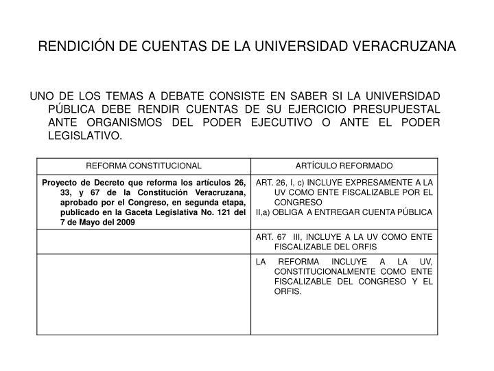 RENDICIÓN DE CUENTAS DE LA UNIVERSIDAD VERACRUZANA