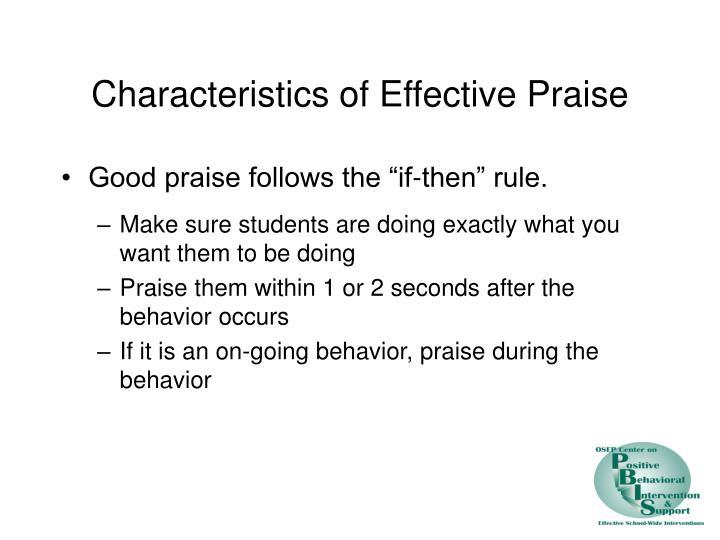 Characteristics of Effective Praise