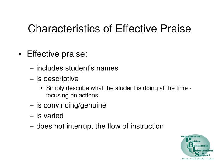 Characteristics of Effective Praise