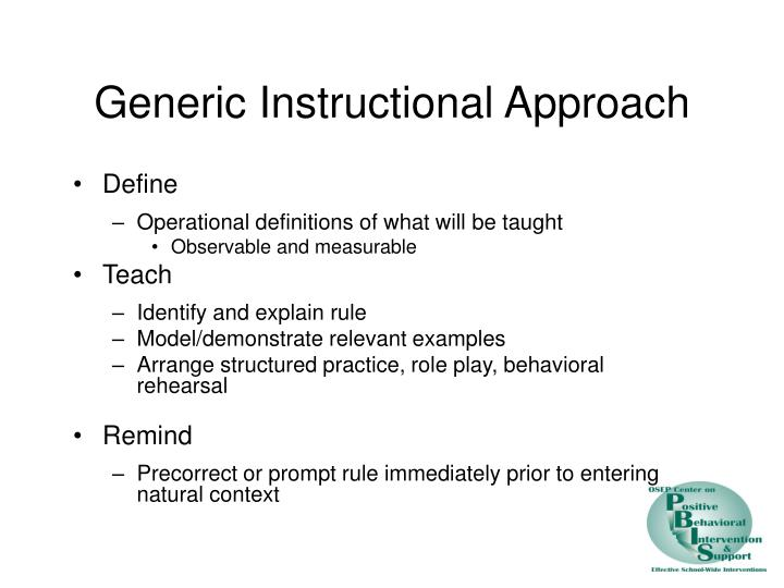 Generic Instructional Approach