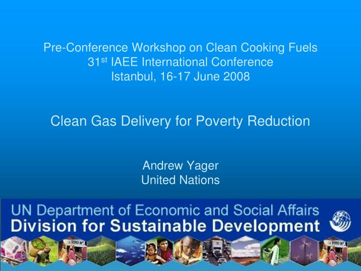 Pre-Conference Workshop on Clean Cooking Fuels