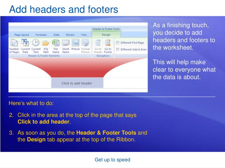 Add headers and footers