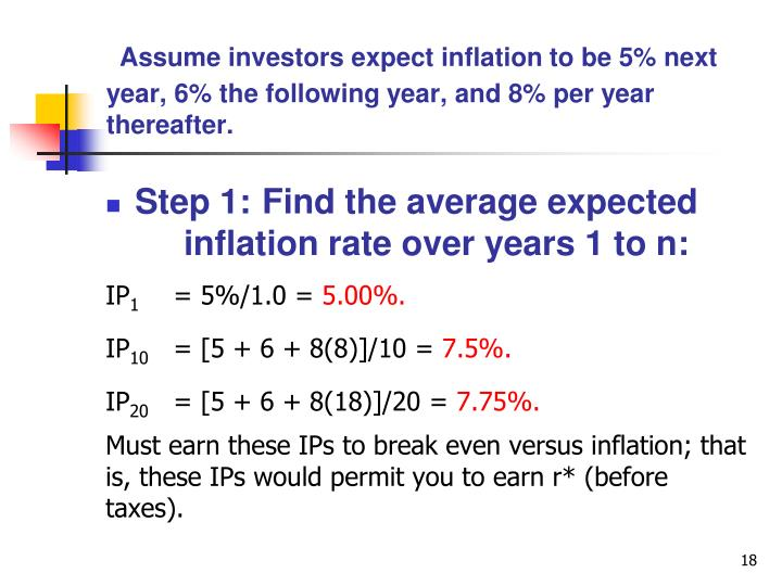 Assume investors expect inflation to be 5% next year, 6% the following year, and 8% per year thereafter.