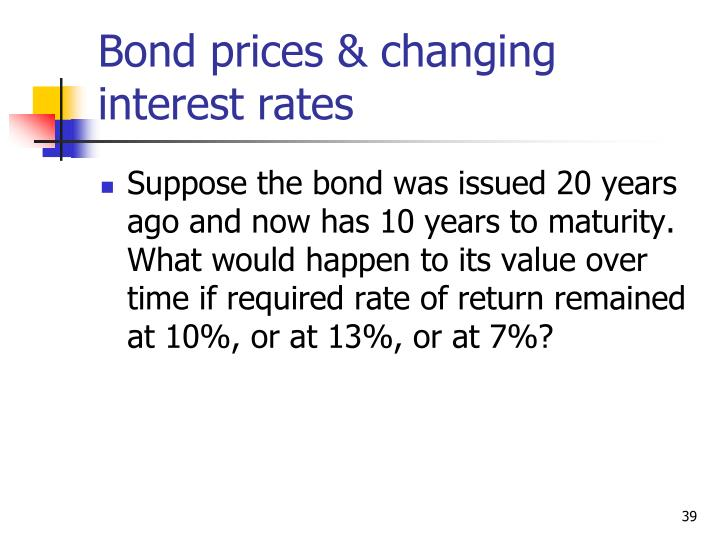 Bond prices & changing interest rates