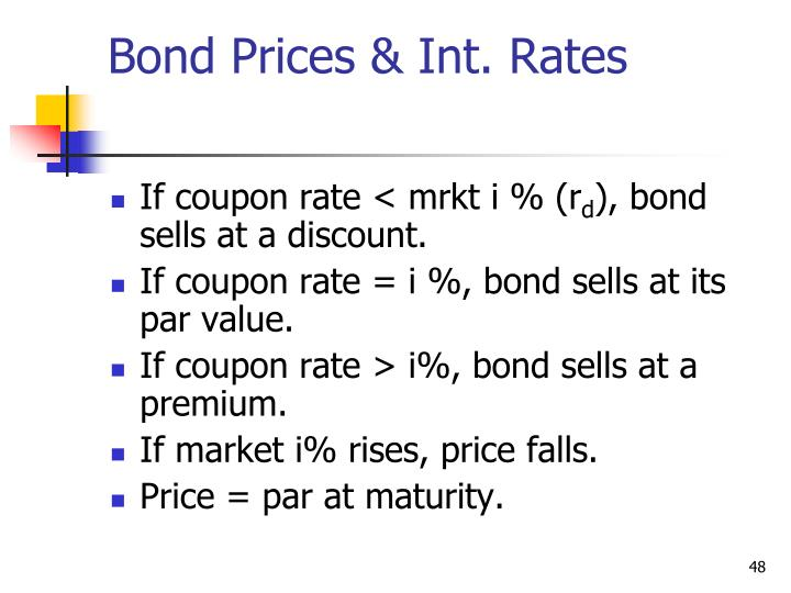 Bond Prices & Int. Rates