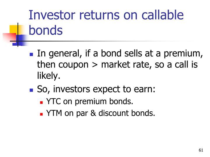 Investor returns on callable bonds