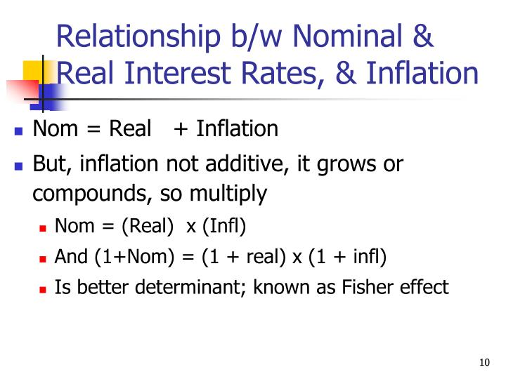 Relationship b/w Nominal &  Real Interest Rates, & Inflation