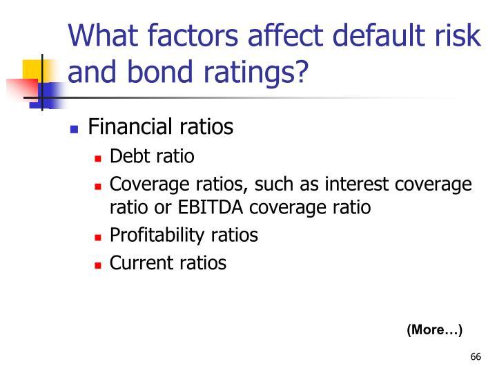 What factors affect default risk and bond ratings?