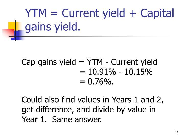 YTM = Current yield + Capital gains yield.